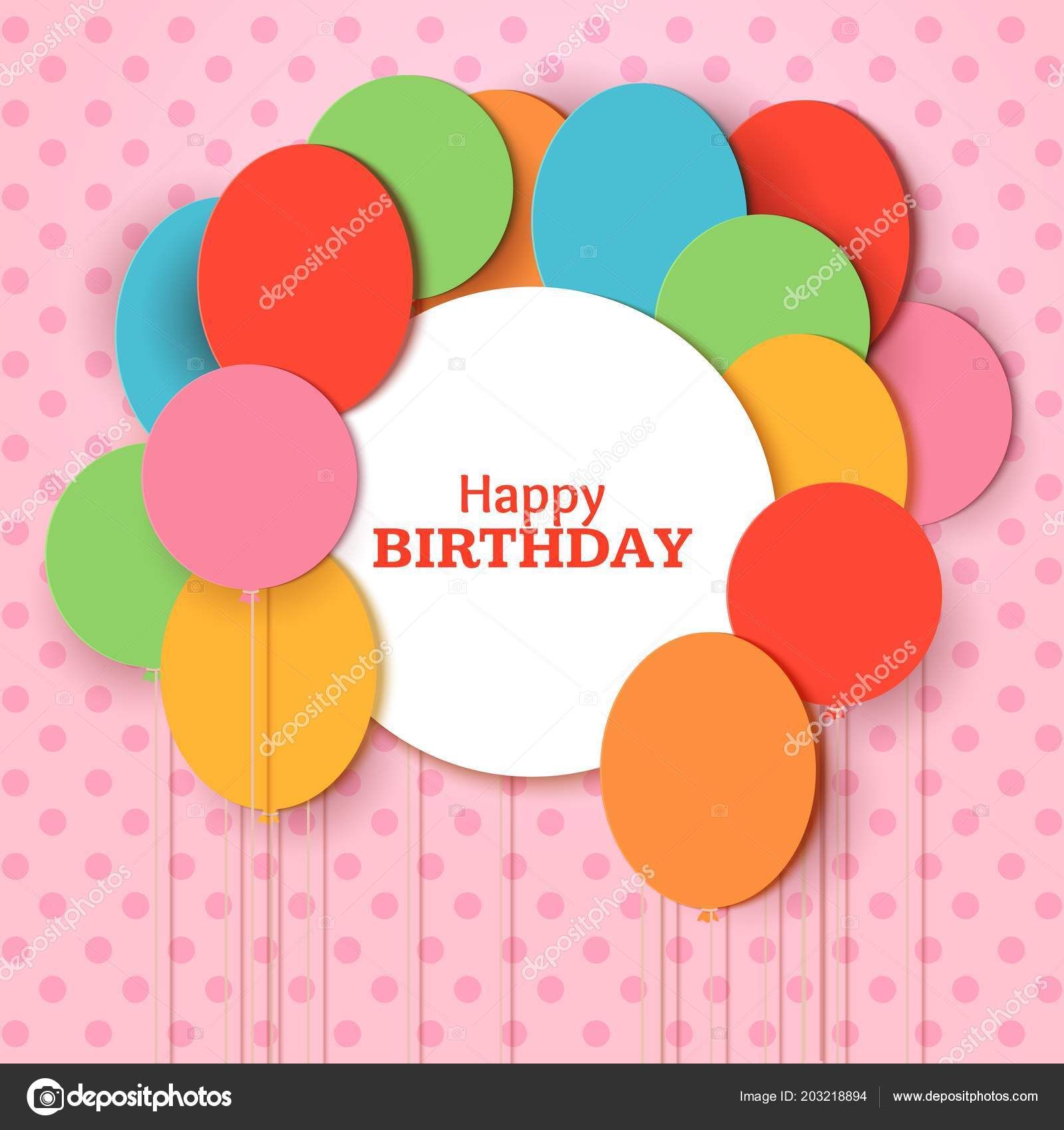 Happy Birthday Greeting Card Template With White Round Frame Flying