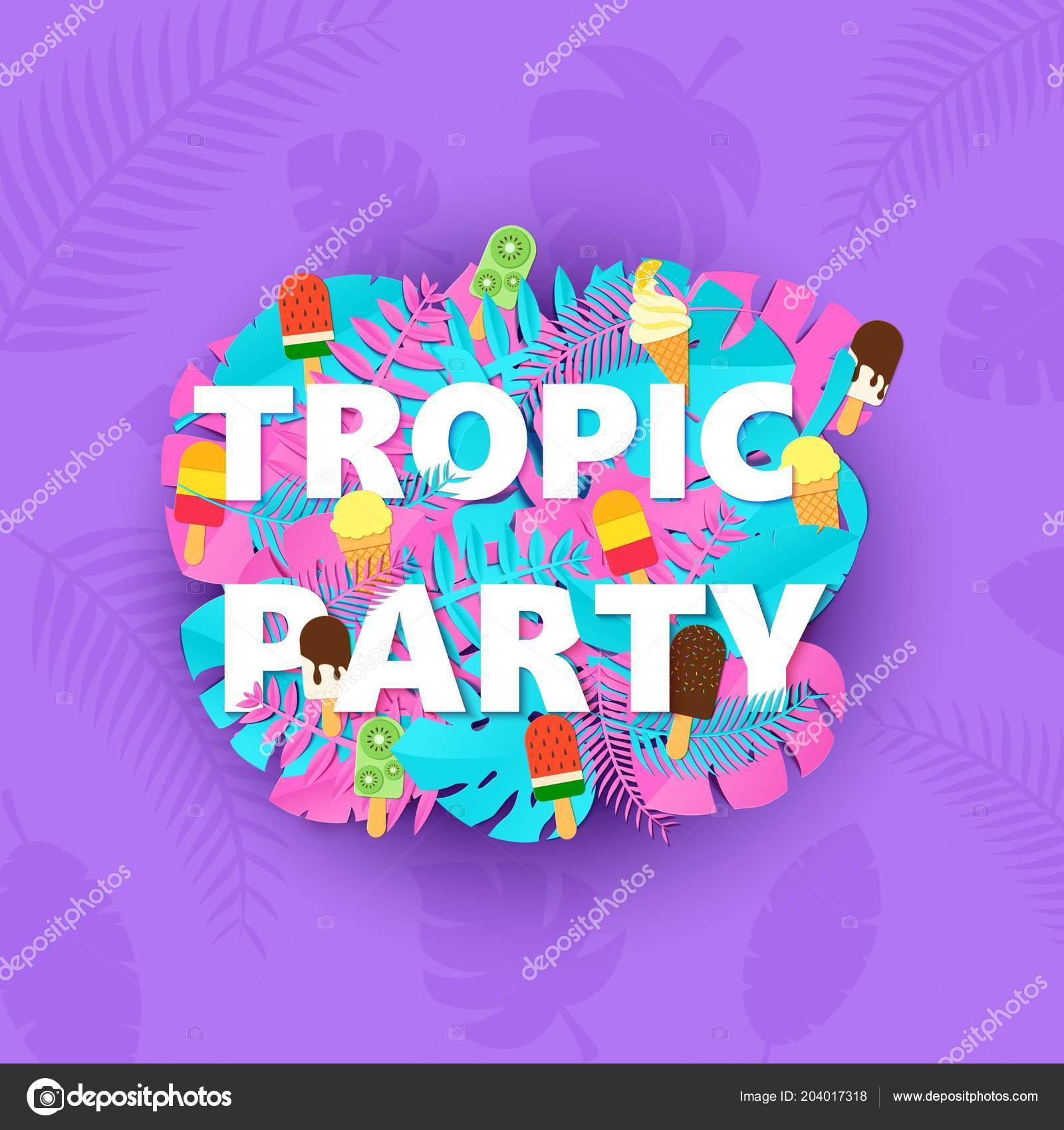 words tropic party composition with creative pink blue jungle leaves
