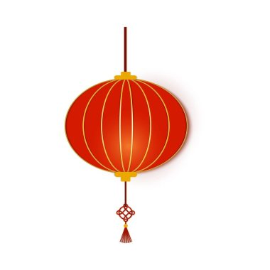 Red Chinese traditional circle paper lantern. Chinese New Year lantern round shape. Paper art stile asian decoration. Isolated on white background. Vector card illustration