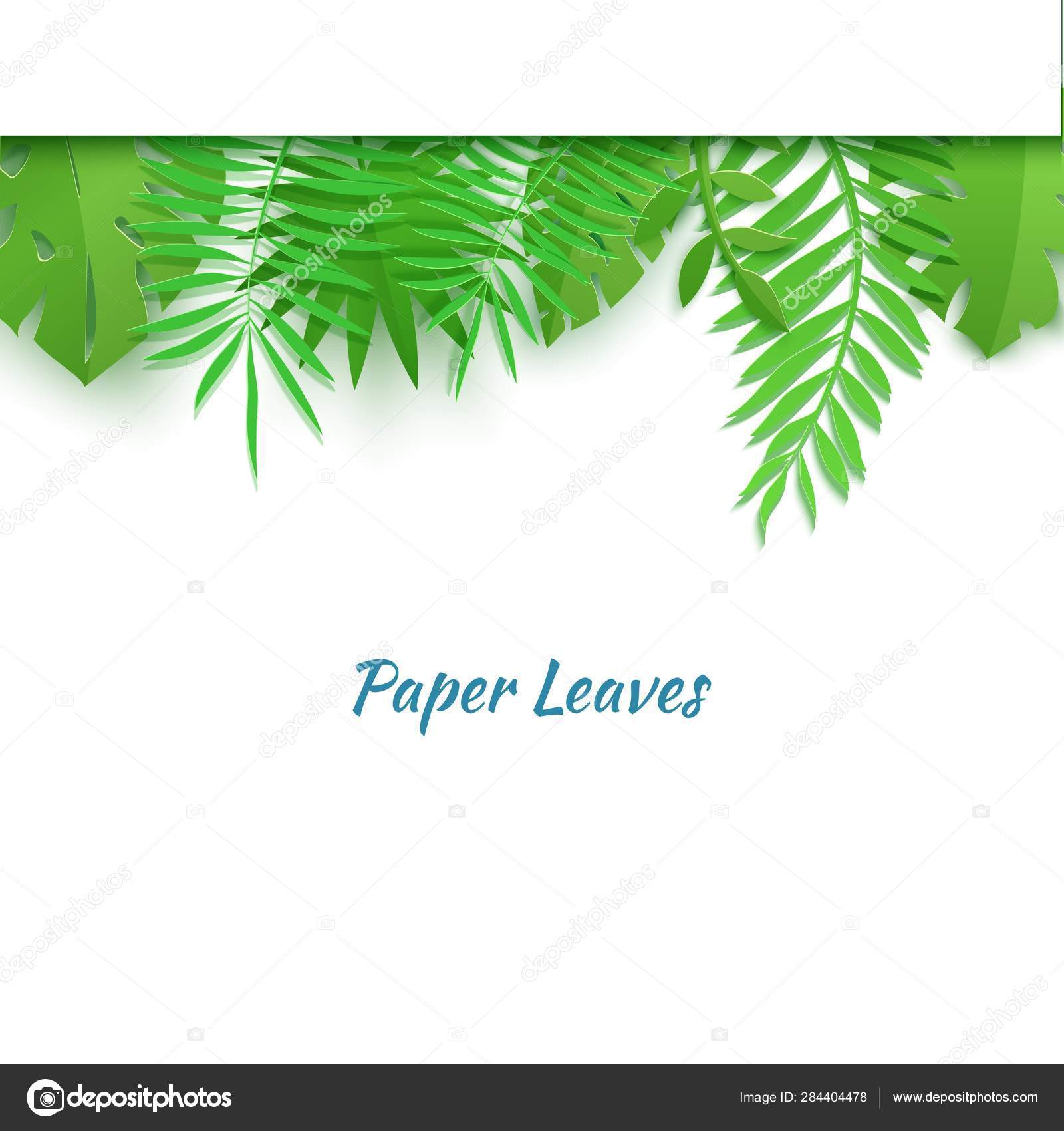 Horizontal top border of summer tropical leaves in paper cut