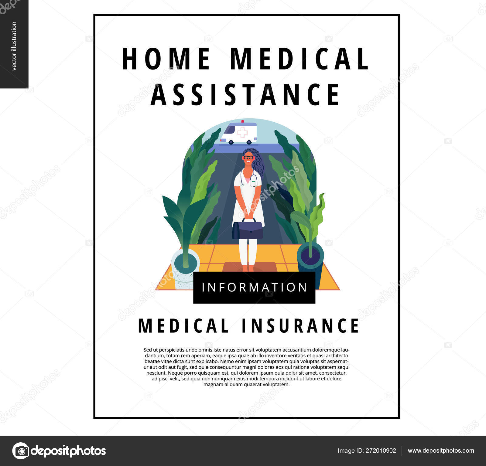 Medical insurance template - home medical assistance — Stock