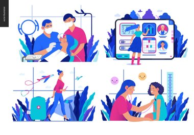 Set of medical insurance illustrations