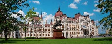Beautiful panoramic view of the National Hungarian Parliament bu
