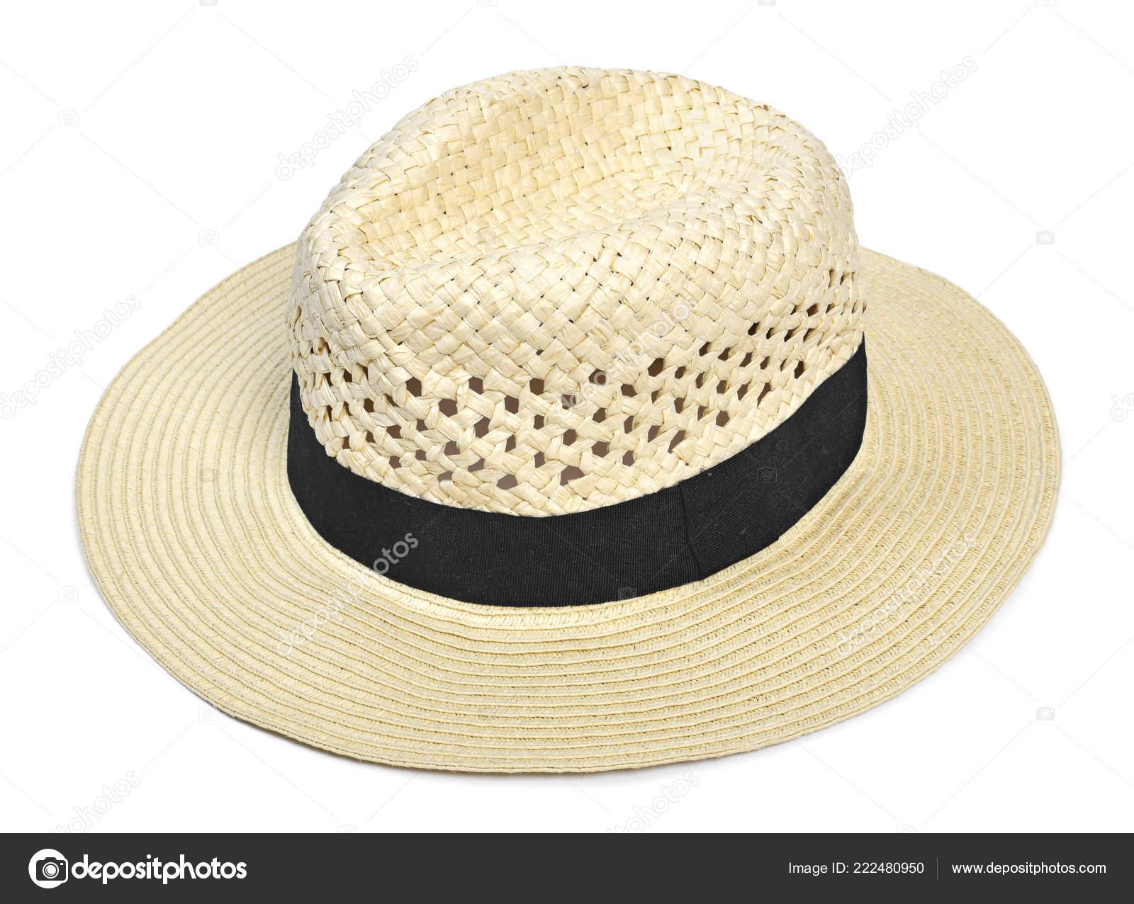 958b2141acb60 Sombrero Panamá Sombrero Verano Tradicional Con Cinta Del Sombrero Negro —  Fotos de Stock