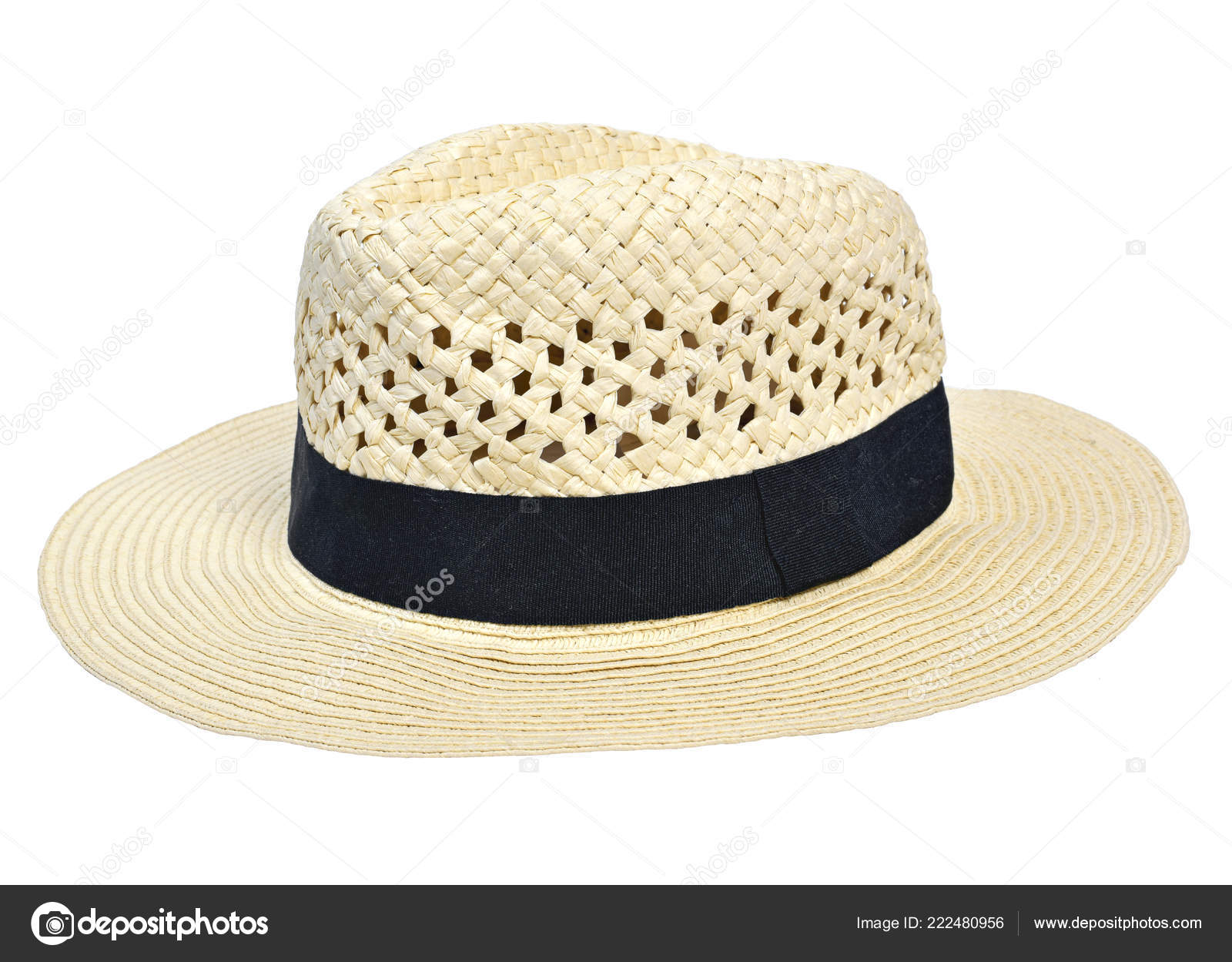 5e55771b47853 Panama Hat Traditional Summer Hat Black Hatband Ribbon Isolated White —  Stock Photo