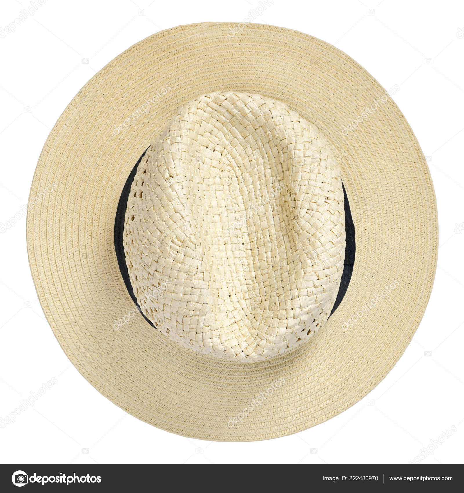 85f634ef92a5eb Panama Hat Traditional Summer Hat Black Hatband Ribbon Isolated White —  Stock Photo