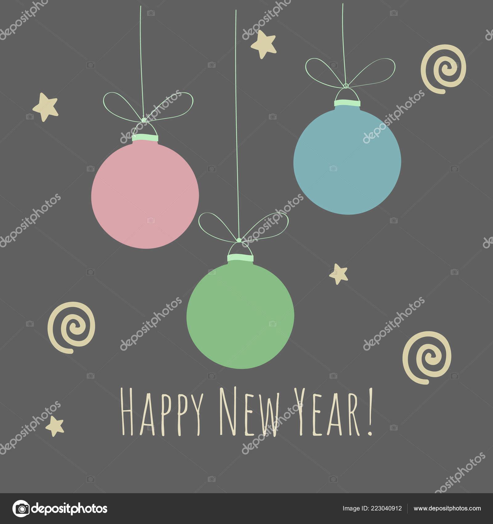 Ilustración Invierno Navidad Con Bolas Navidad Feliz Año