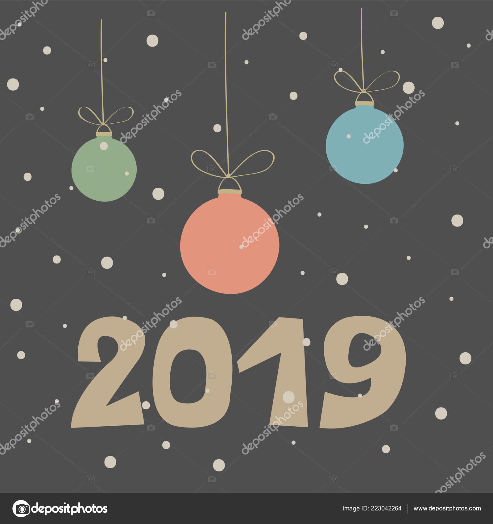 Ilustración Invierno Navidad Con Frase Feliz Año Nuevo Sobre