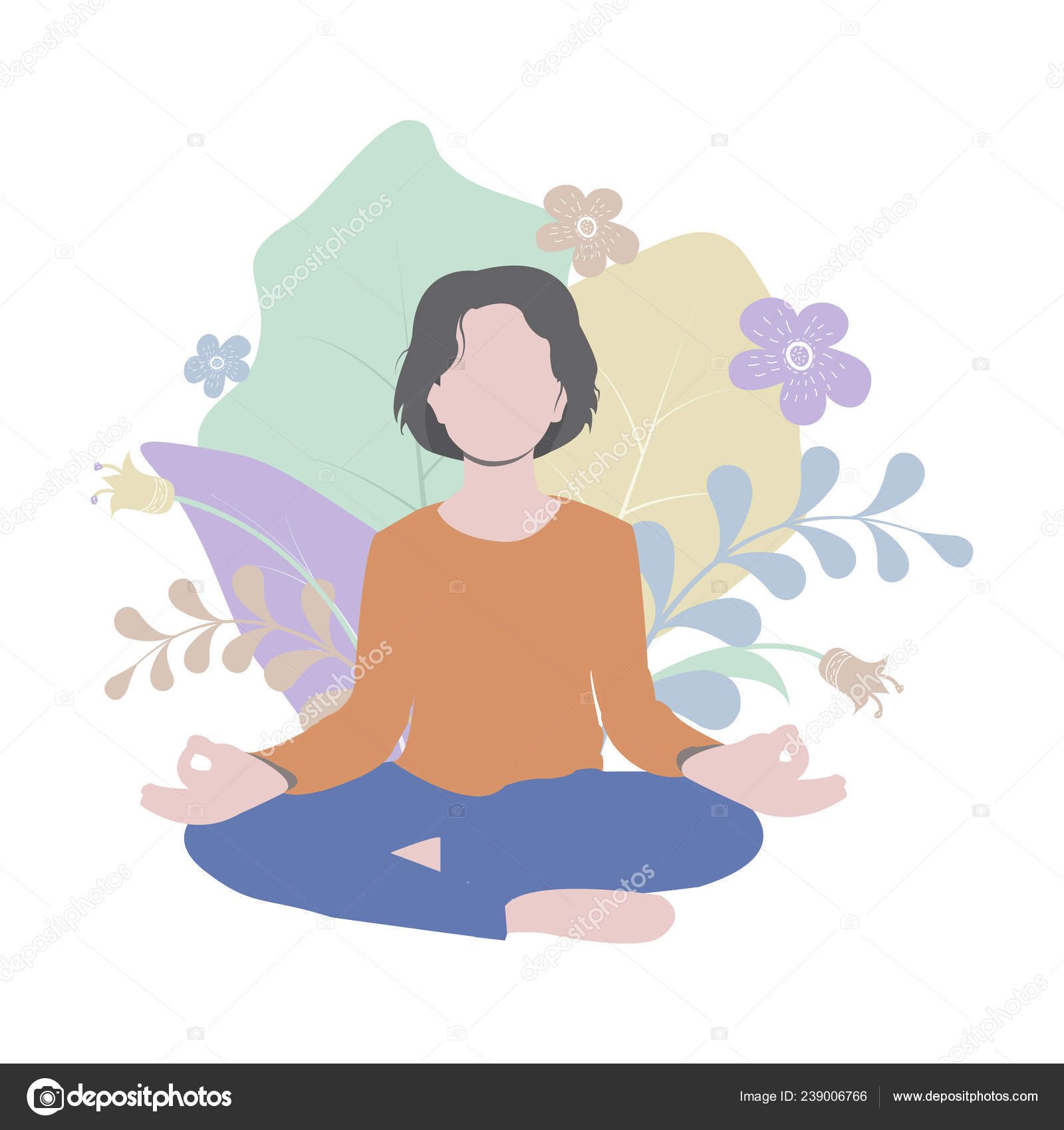 Young Woman Practicing Yoga Assana Lotus Position Meditation Simple Flat Stock Vector C Flammynga Yandex Ru 239006766