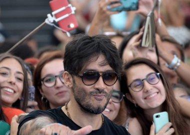 Giffoni Valle Piana, Sa, Italy - July 25, 2018 : Fabrizio Moro at Giffoni Film Festival 2018 - on July 25, 2018 in Giffoni Valle Piana, Italy