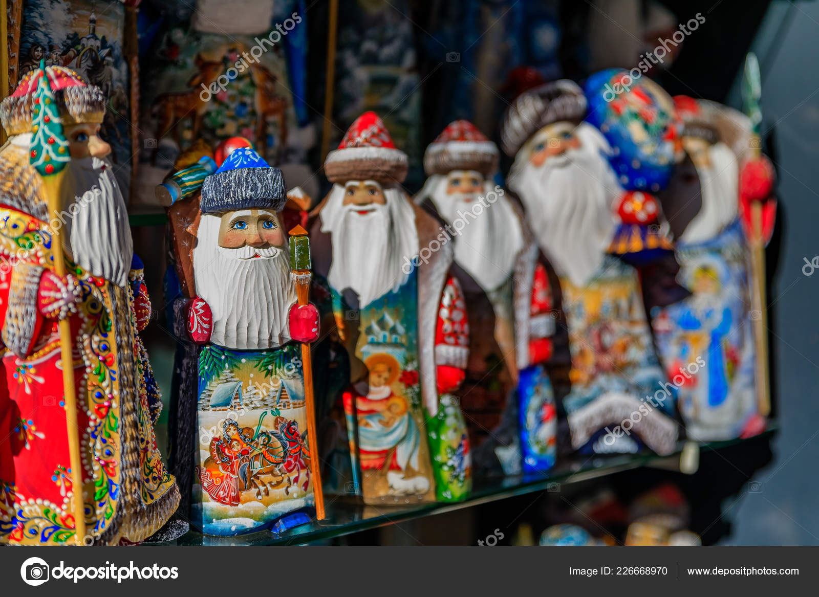 Russia Christmas Ornaments.Russian Wooden Santa Claus Colorful Christmas Ornaments