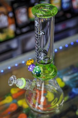 High end Cheech and Chong glass bong for smoking marijuana in a Haight Ashbury store in San Francisco, USA