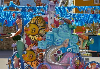 Fallas figures in Valencia popular fest at Spain