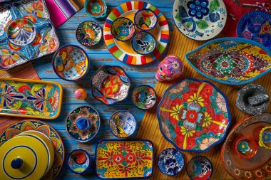 Mexican pottery Talavera style of Puebla in Mexico