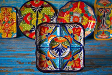 Mexican pottery Talavera style tray of Puebla in Mexico