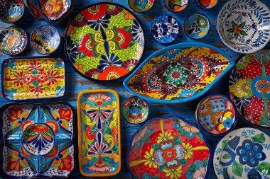 Mexican pottery Talavera style of Puebla in Mexico