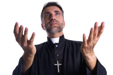 """Картина, постер, плакат, фотообои """"священник с распростертыми руками молится, принося жертву """", артикул 222029310"""