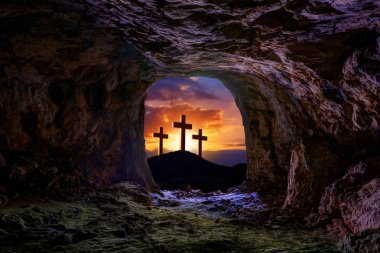 Jesus resurrection sepulcher grave cross crucifixion concept photo mount