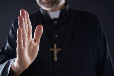 """Картина, постер, плакат, фотообои """"чистейшее благословение рук крупным планом с крестом и духовенством """", артикул 222031046"""