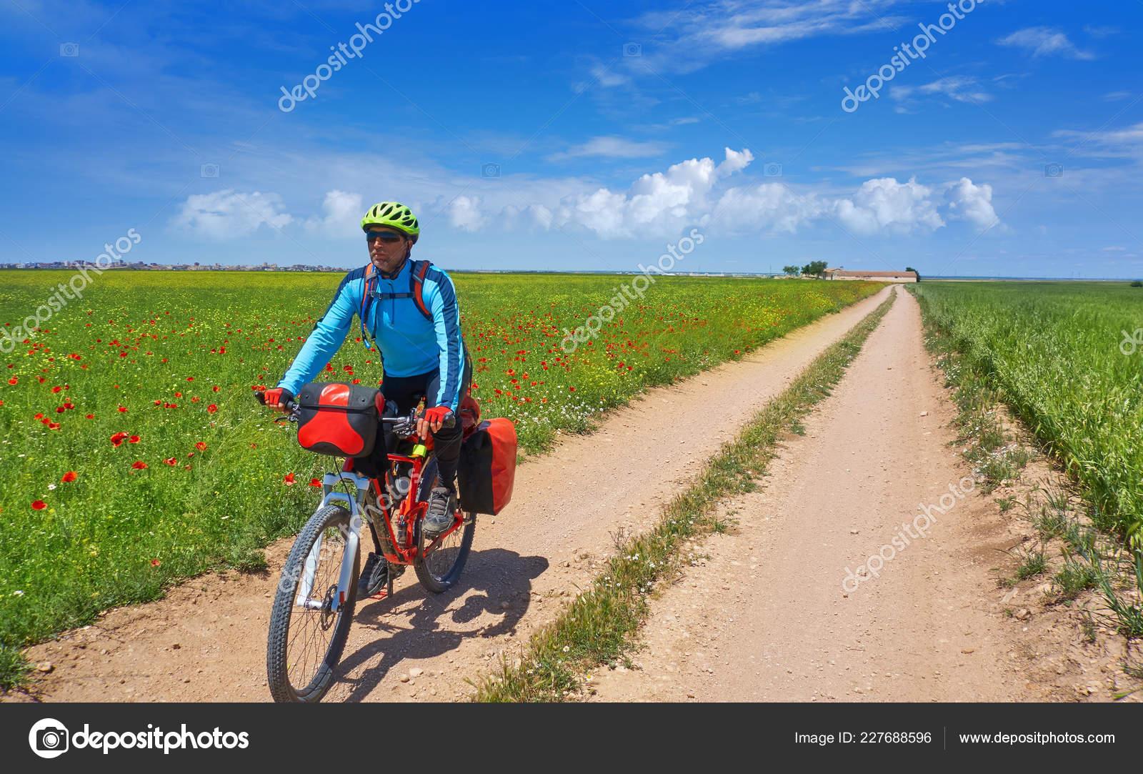 Motociclista Camino Santiago Bicicletta Saint James Levante Della