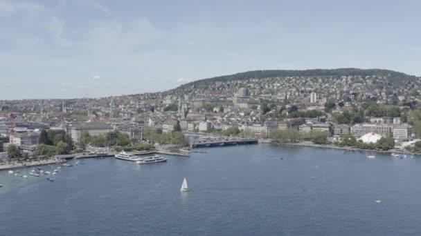 4k Netříděné bzukot letecký pohled na město curyšské městské nábřeží ve Švýcarsku