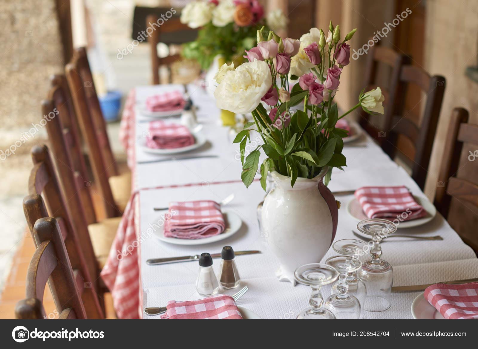 Shot Table Set Meal Restaurant Outdoor Terrace Stock Photo C Gzorgz 208542704