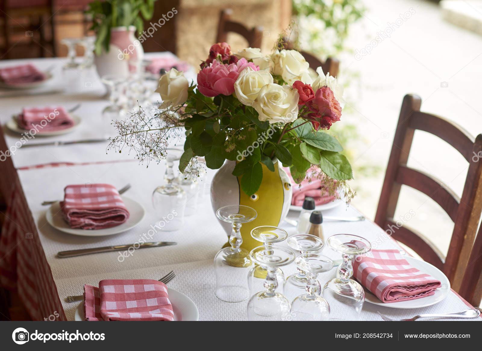 Shot Table Set Meal Restaurant Outdoor Terrace Stock Photo C Gzorgz 208542734