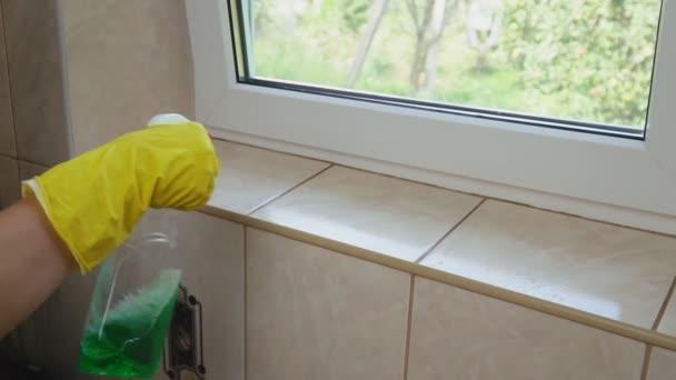 Frau wäscht Fenster