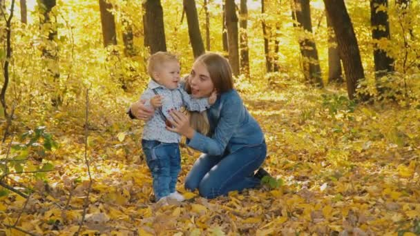 mother with son in nature