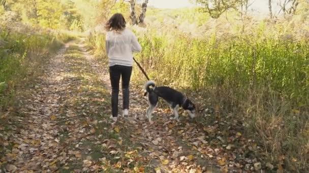 girl with a dog breed Husky