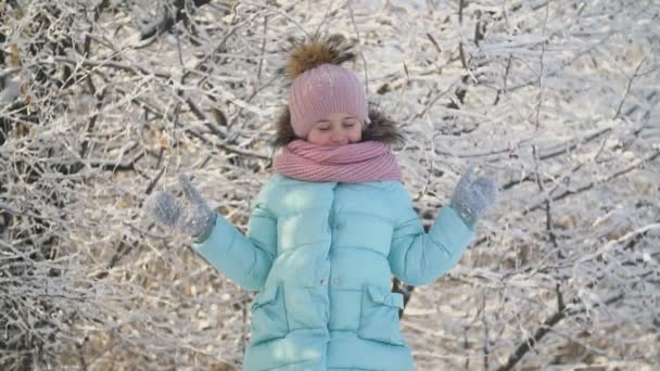 little girl in a snowy park