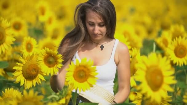 girl in sunflower flowers