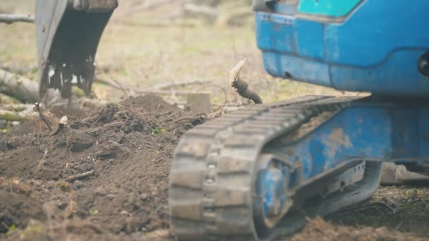 rubber track at a small excavator