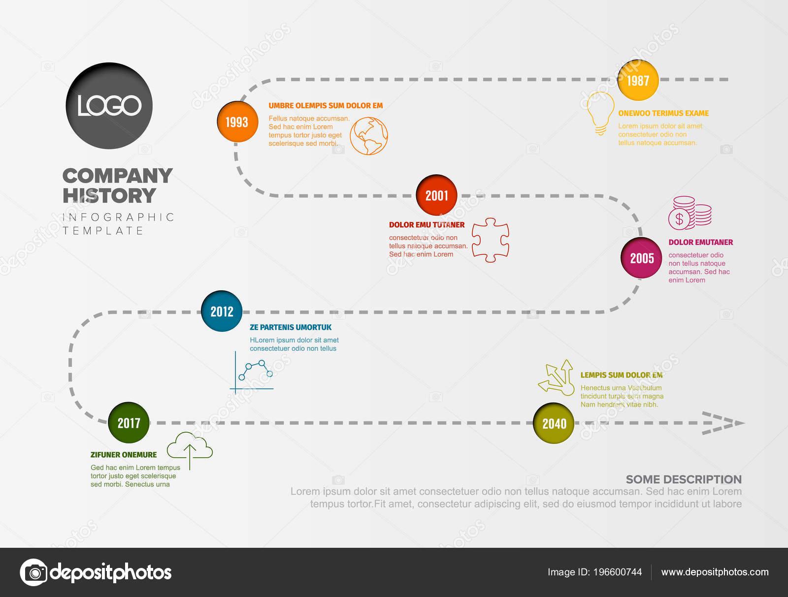Vektor Infografik Timeline Report Vorlage Mit Ikonen Und Einfache ...