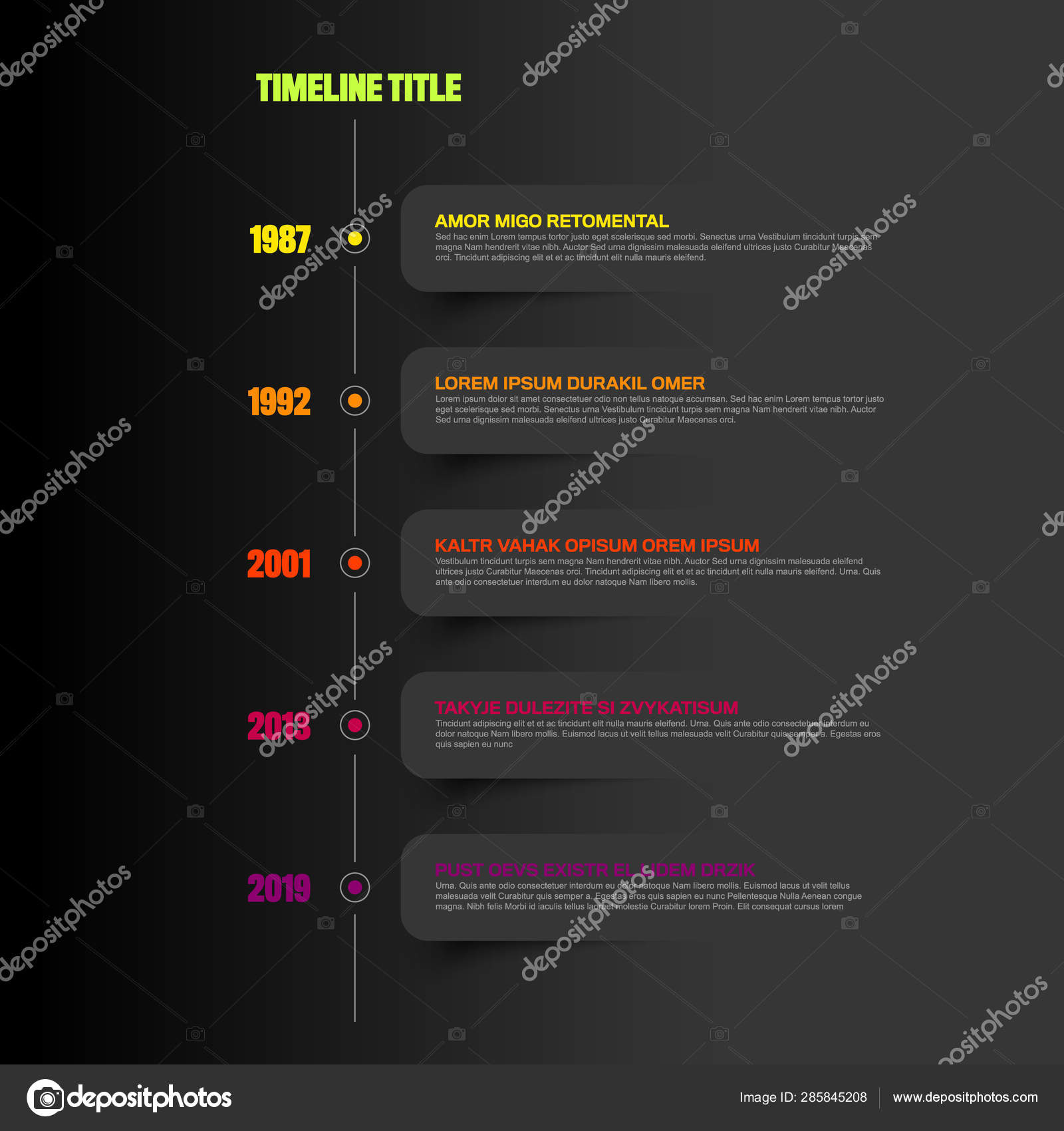 Simple Timeline template with white labels — Stock Vector