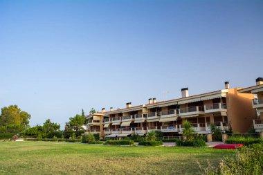 Porto Gerakini, Sithonia, Halkidiki, Greece - June 29, 2014: View of residential houses in the village Paralia Gerakinis on the Chalkidiki peninsula