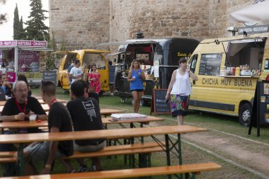FARO, PORTUGAL: 30th AUGUST, 2018 - Food area with diversity of vendors in Festival F, a big festival on the city of Faro, Portugal.