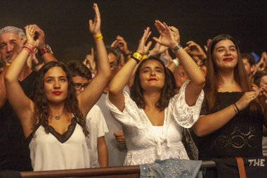 FARO, PORTUGAL: 30th AUGUST, 2018 - Audience watch music artist on  Festival F, a big festival on the city of Faro, Portugal.