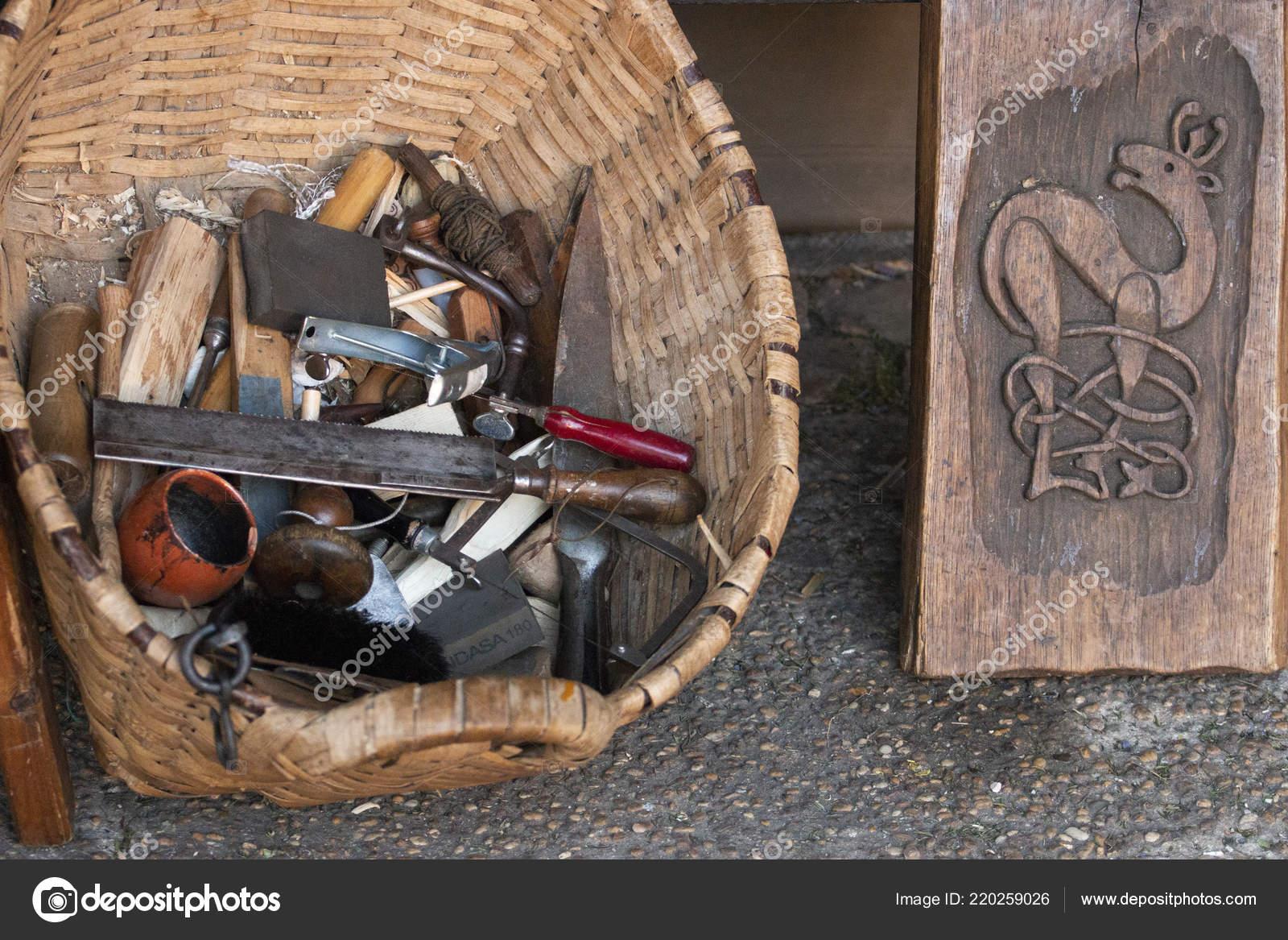 Close View Workshop Tools Woodworking Artwork Stock Photo C Membio