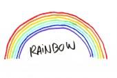 Rainbow nakreslen fixy na bílém pozadí.