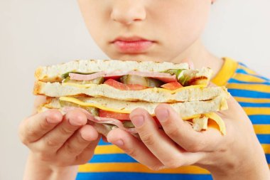 Little cut boy with a tasty double sandwich on a white background close up