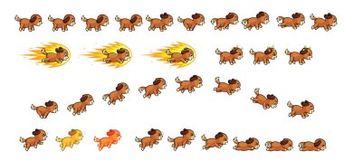 Puppy Dog Game Sprites. Suitable for side scrolling, action, adventure, and endless runner game.
