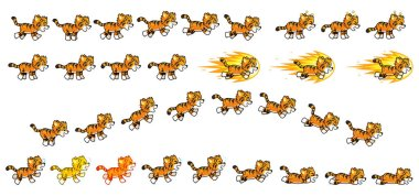 Little Tiger Game Sprites. Suitable for side scrolling, action, adventure, and endless runner game.
