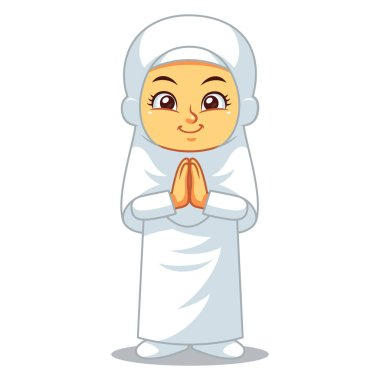 Moslem Girl Hajj Greeting Salaam.