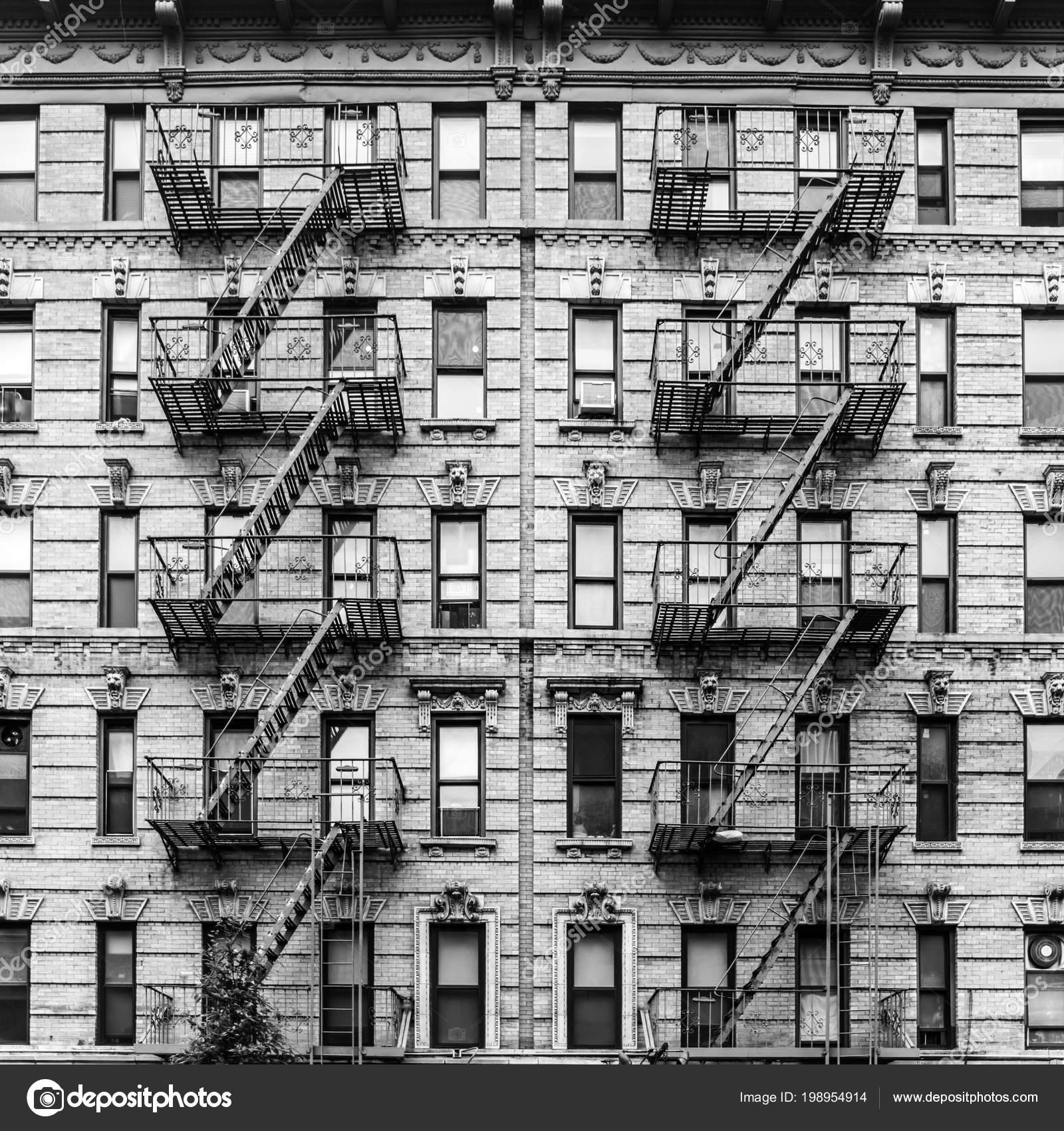 Apartment Building Manhattan New York: A Fire Escape Of An Apartment Building In New York City