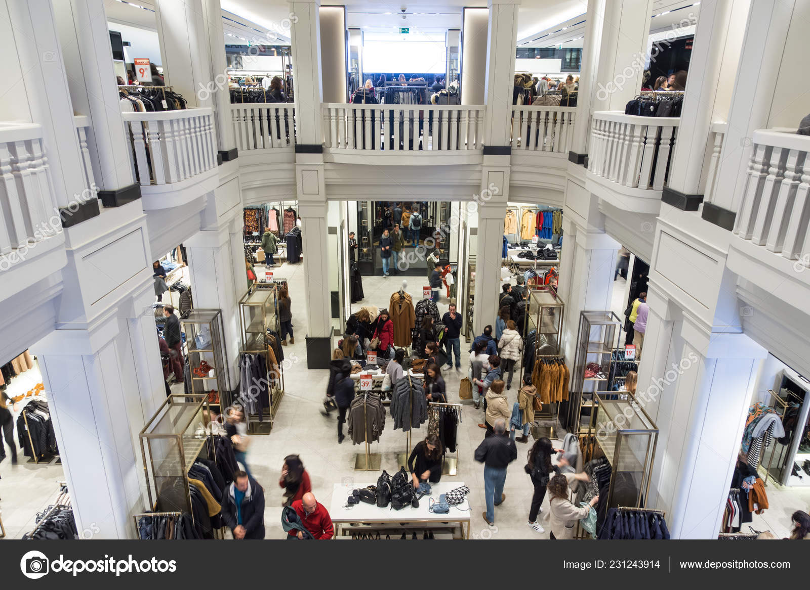 57e8d742 Interior of Zara store on Gran Via shopping street in Madrid, Spain.. —