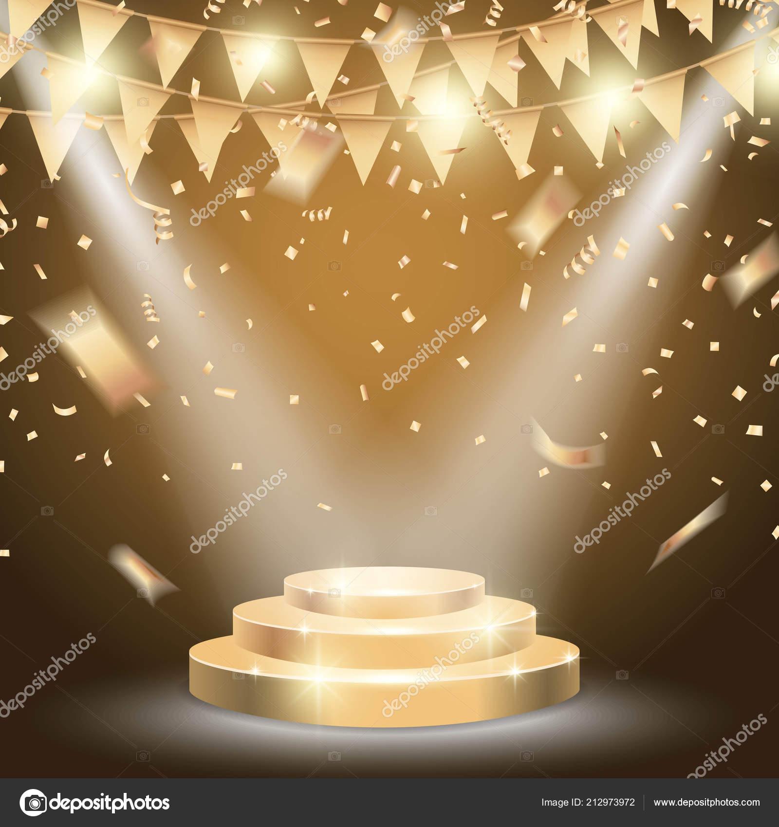 Gold Podium Brightly Spotlight Celebration Background ...