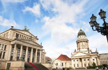 Berlin, Germany - October 8, 2017: Concert Hall (Konzerthaus) and Franzsischer Dom (French Cathedral) at Gendarmenmarkt square in Berlin, Germany