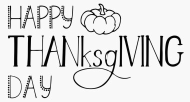 Lettering Happy Thanksgiving Day. White background, isolator. Stock illustration.
