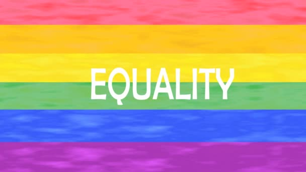 Illustration of Equality word lettering isolated on lgbt flag colors background.